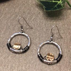 Matte Two Tone Wire Wrapped Earrings